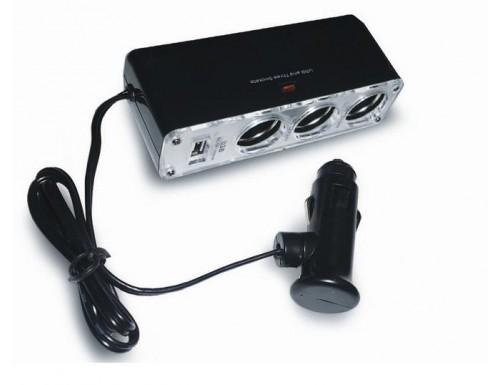 Разветвитель прикуривателя AVS CS313U (на 3 выхода + USB)