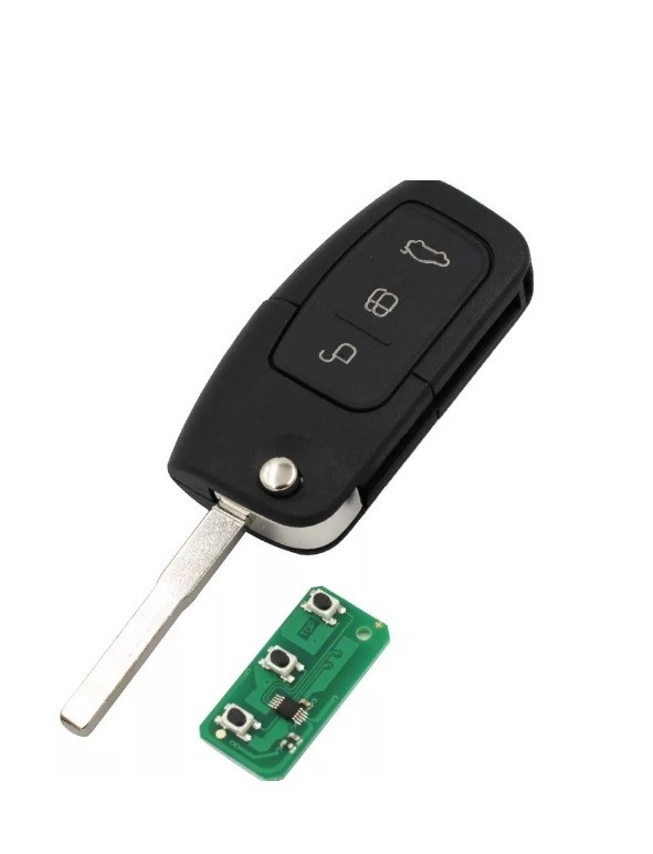 Ключ с платой выкидной (F20) Ford 3 кнопки (Лезвие HU101, плата 433Мгц, чип 4D63)