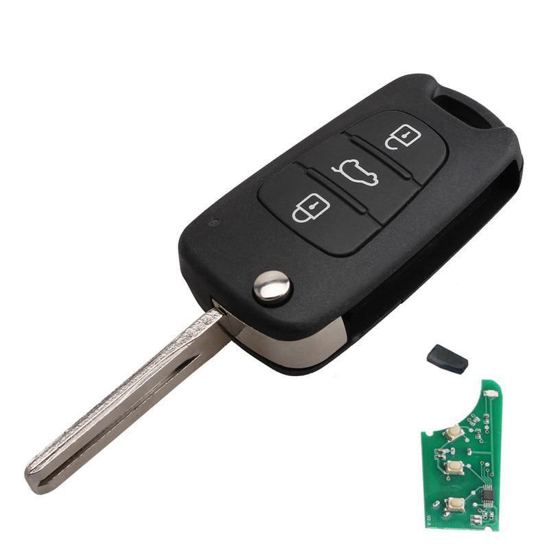 Ключ с платой выкидной (HK30) Hyundai тип 2 чип ID46, (частота 433), лезвие TOY40, 3 кнопки