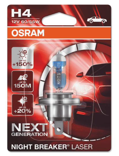 Галогеновая лампа OSRAM H4 +150% NIGHT BREAKER LASER 12V 60/55W (коробка, 1 шт.)