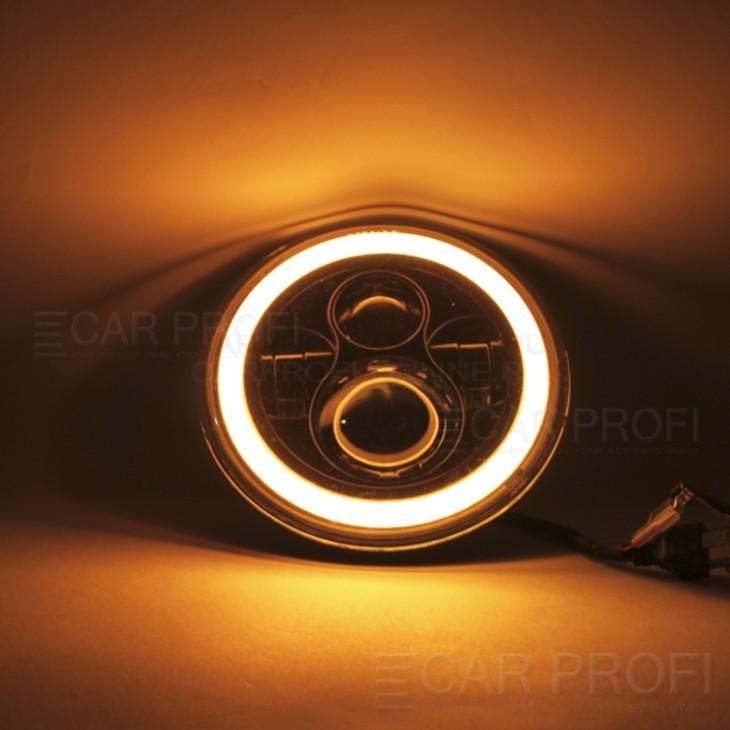 """Светодиодные фары CarProfi CP-LED-7""""-246 +ДХО/поворот (2 шт.)"""