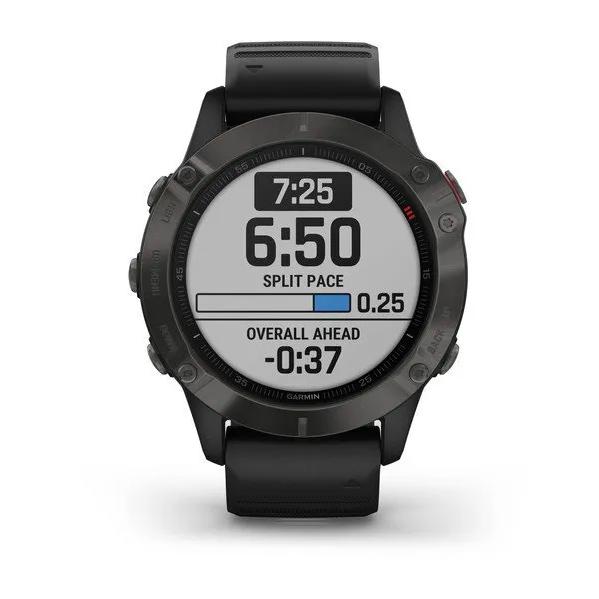 Часы Garmin Fenix 6 Sapphire с GPS, серые с черным ремешком
