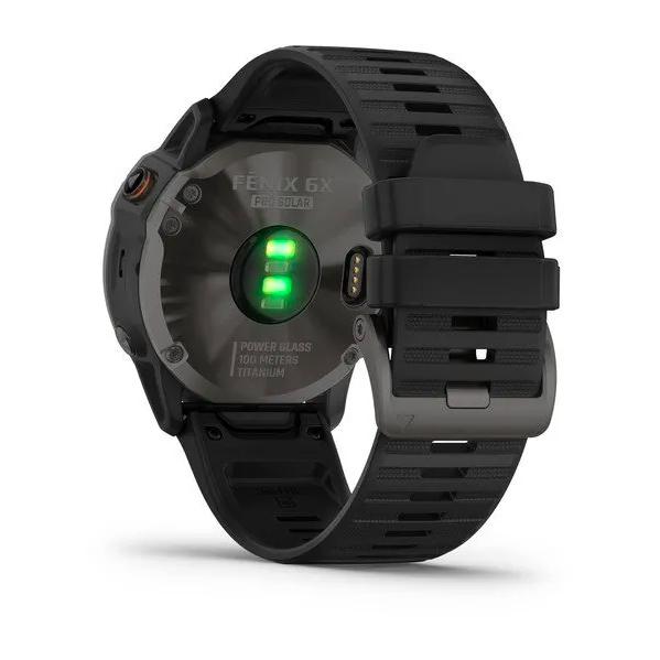 Часы Garmin Fenix 6X PRO Solar с GPS, титановый с черным ремешком