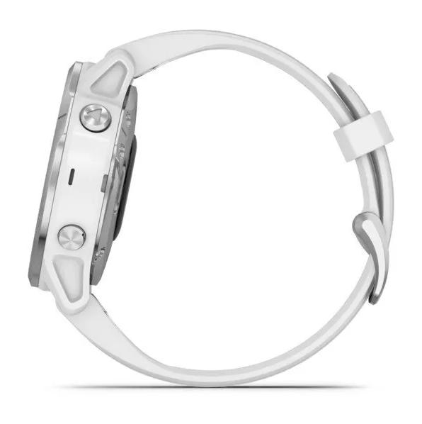 Часы Garmin Fenix 6S с GPS, серебристые с белым ремешком