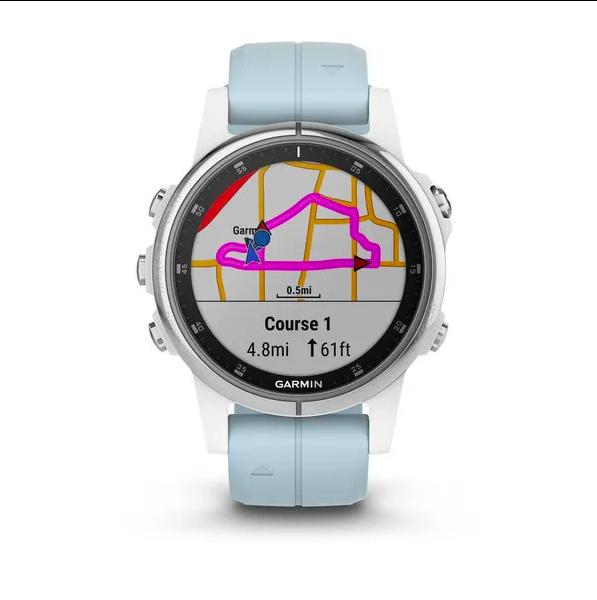 Часы Garmin Fenix 5S PLUS Glass серебр./черн. с голуб. ремешком