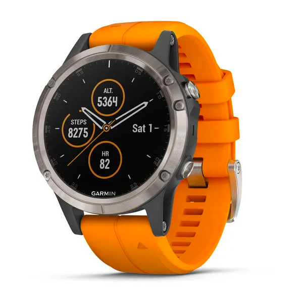 Часы Garmin Fenix 5 PLUS Sapphire RUSSIA титан с оранжевым ремешком
