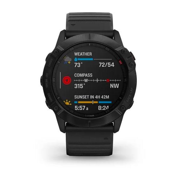 Часы Garmin Fenix 6X PRO с GPS, черные с черным ремешком