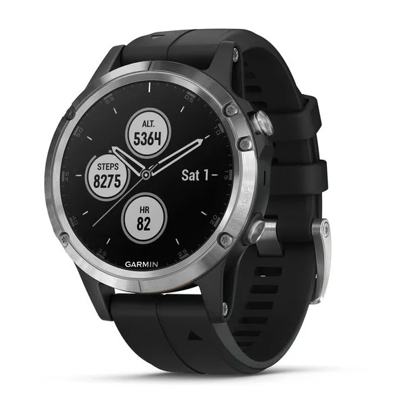 Часы Garmin Fenix 5 PLUS Glass RUSSIA серебристые с черным ремешком