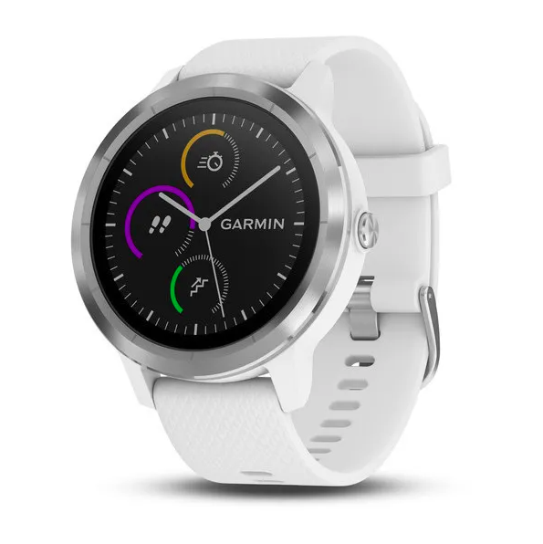 Часы Garmin Vivoactive 3 с функцией GARMIN PAY, серебристые с белым ремешком