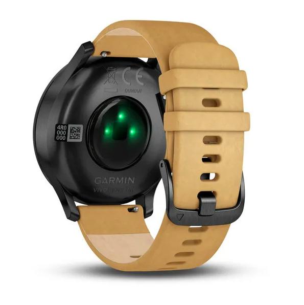 Часы с трекером активности Garmin VivoMove HR Premium, черные, кожа светло-коричн.