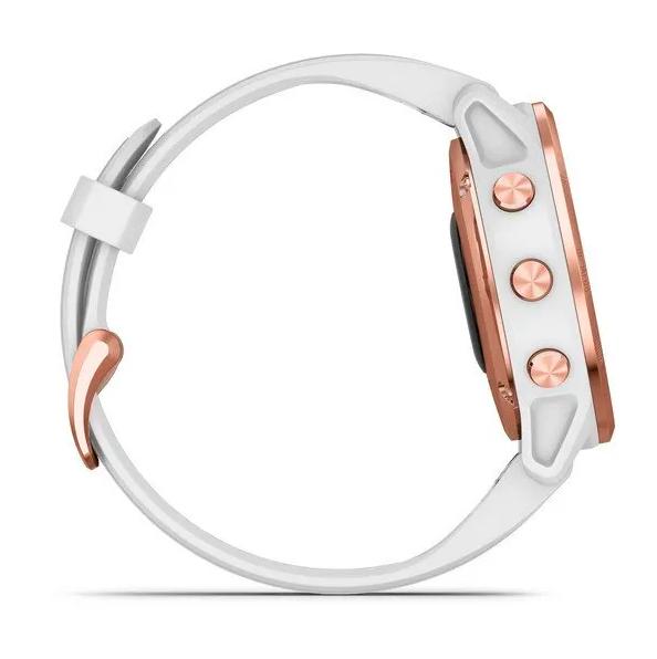 Часы Garmin Fenix 6S PRO с GPS, розов.золото с белым ремешком