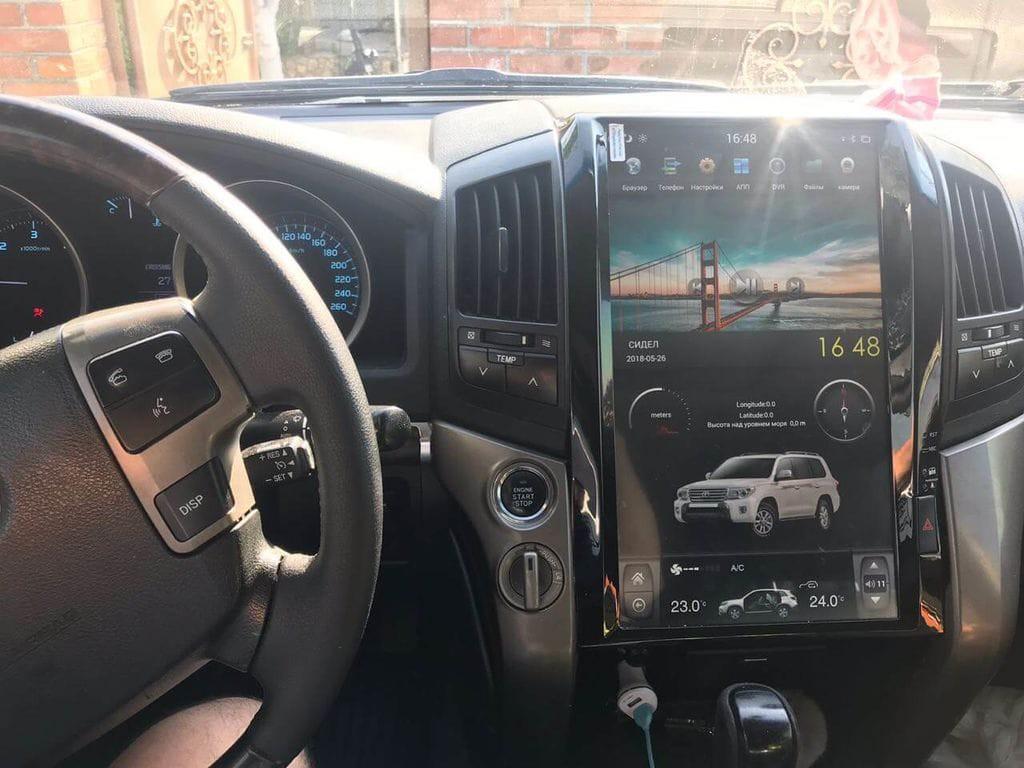 Магнитола в стиле Tesla 16 для Toyota Land Cruiser 200 (2007-2015)