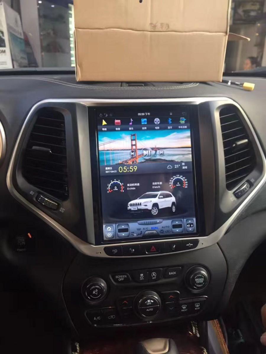 Магнитола в стиле Tesla для Jeep Cherokee V (2013-н.в.)