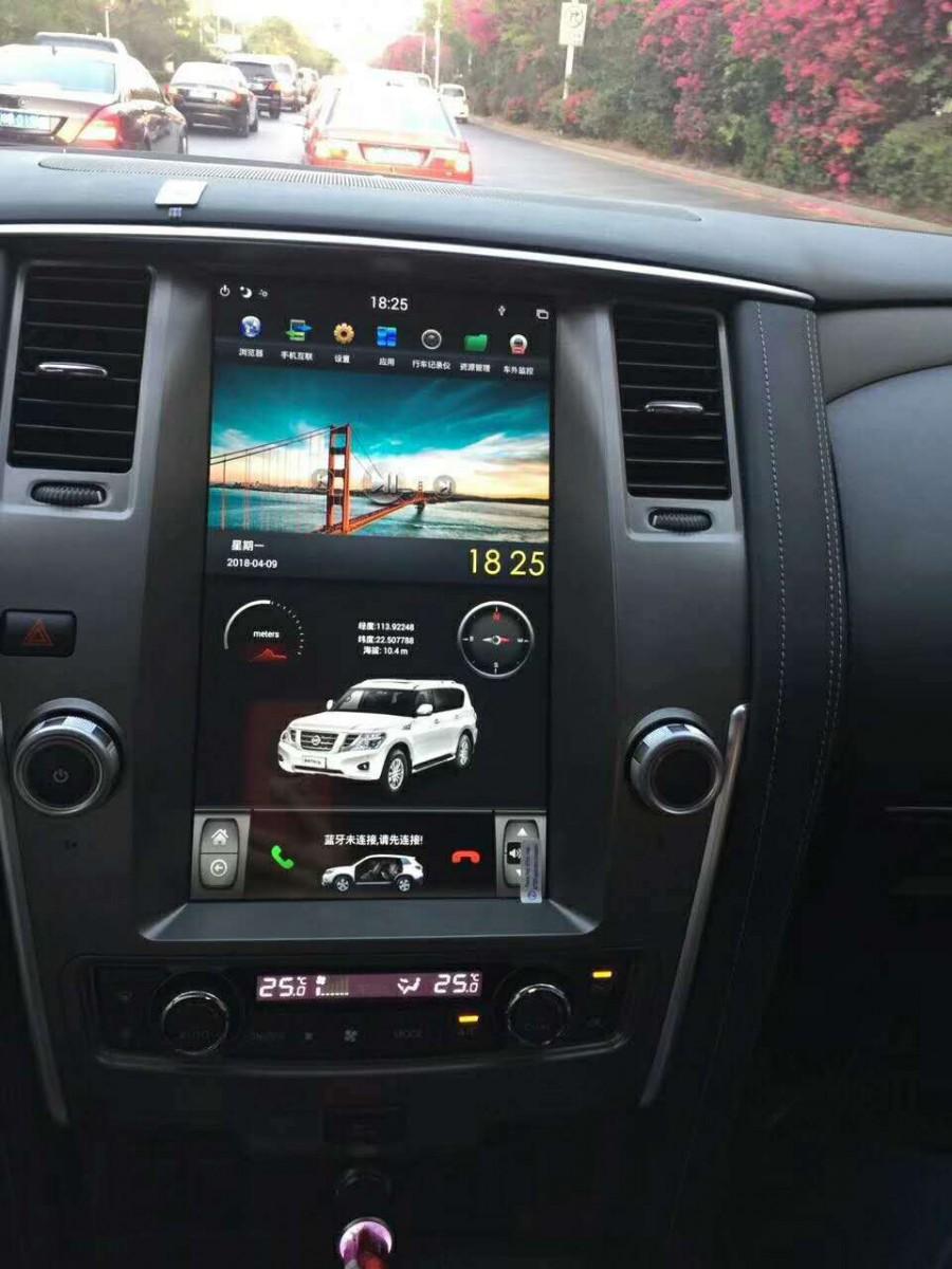 Магнитола в стиле Tesla для Nissan Patrol VI (2010-2019) серебристый цвет